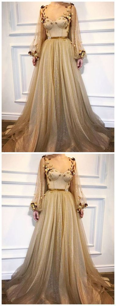 A-line Scoop Prom Dresses With Sleeve Gold Long Prom Dress Evening Dresses A-line Scoop Prom Dresses With Sleeve