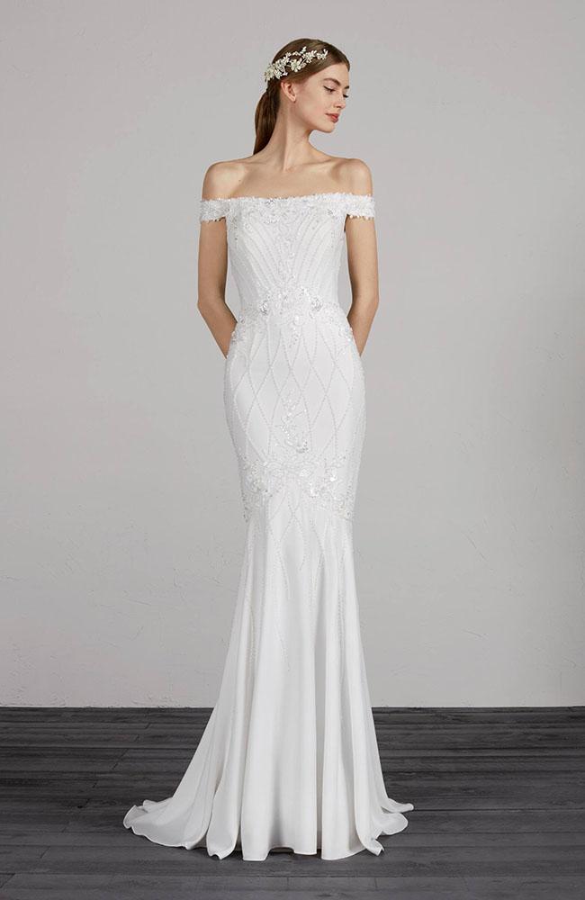 Pronovias Maryse Crepe Mermaid Wedding Dress Sale Price 1650