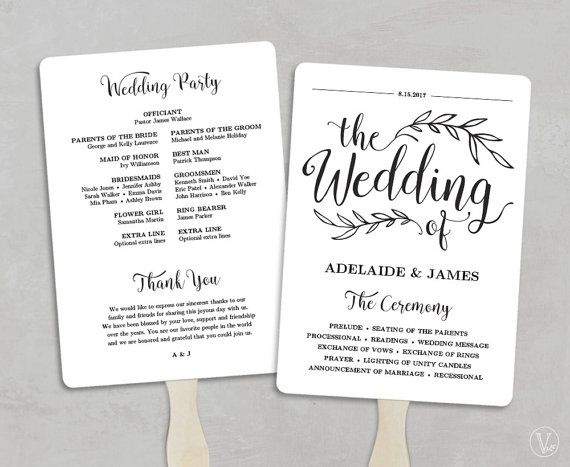 Printable Wedding Program Template Fan Wedding Program Kraft