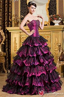 66009656b0 T prom dresses goth. Beautiful Black Purple Princess Strapless Taffeta  Beaded Floor Length Evening Ball Gowns Offers by Big ball Gowns