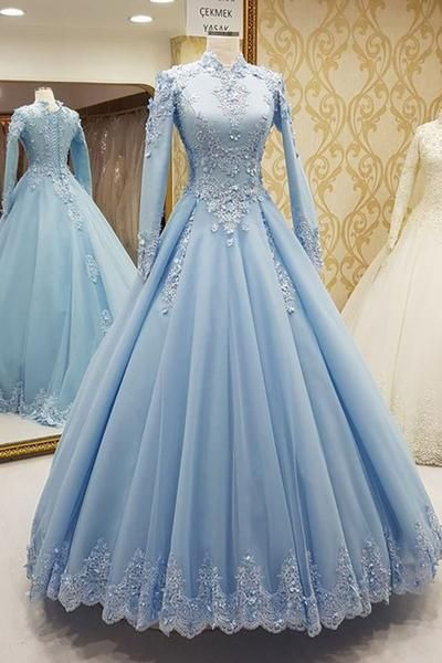 Blue tulle high neck customize formal evening dress with long ...