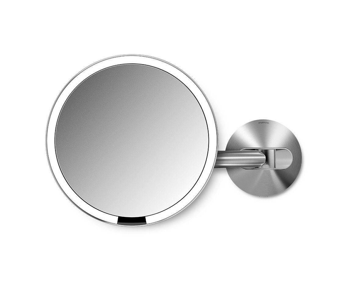 Our wall mount sensor mirror lights up automatically as your face the new simplehuman 8 wall mounted sensor mirror lights up automatically and has the makeup mirrors light system simulates natural sunlight with no audiocablefo