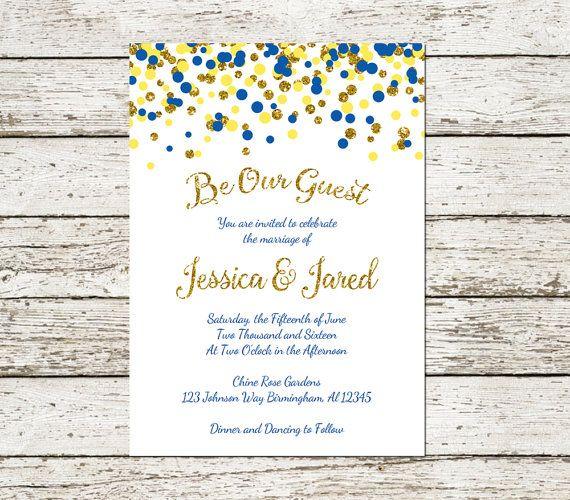 Beauty and the Beast Wedding Invitation Printable Blu… | Beauty ...