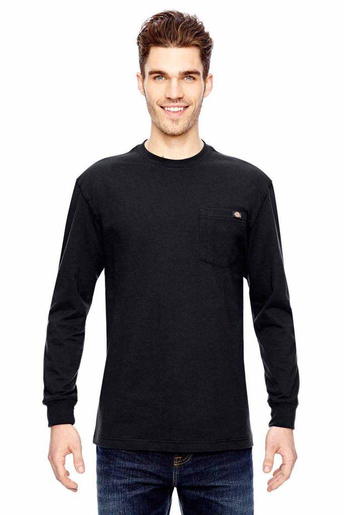 Dickies Mens Long Sleeve Crewneck T Shirt W Pocket Wl450t Long