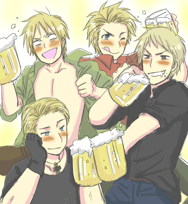 I love how England is the only one who completely looses it and Germany so cute!! >> I totally accept the headcanon that they are all drinking buddies