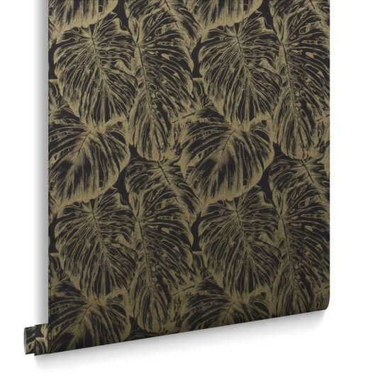 Tropical Wallpaper in Charcoal from the Exclusives Collection by Graha