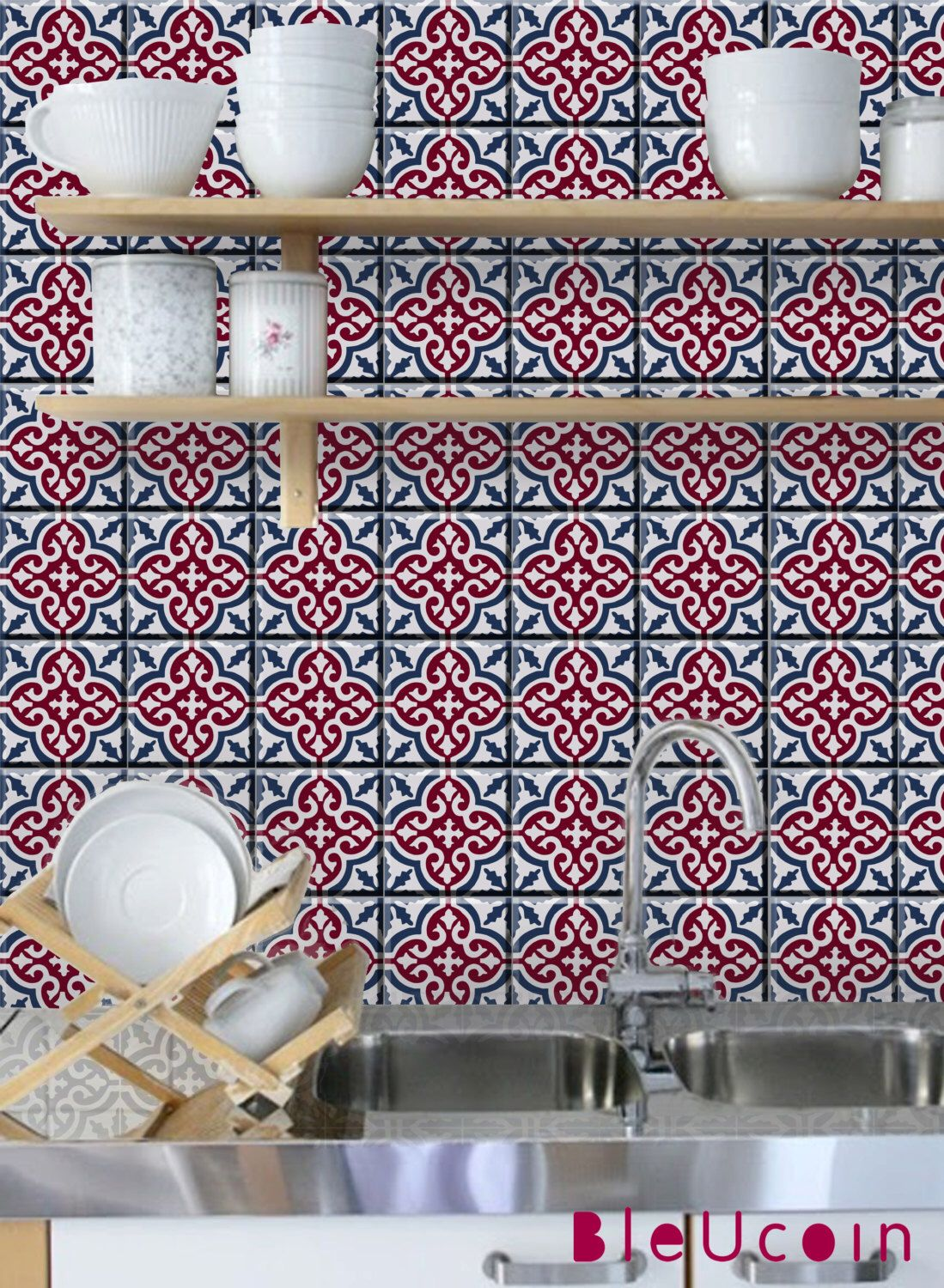 Tile Wall Decal Moroccan Pattern Sangria Red With Navy Blue 44 Pcs By Bleucoin On Etsy