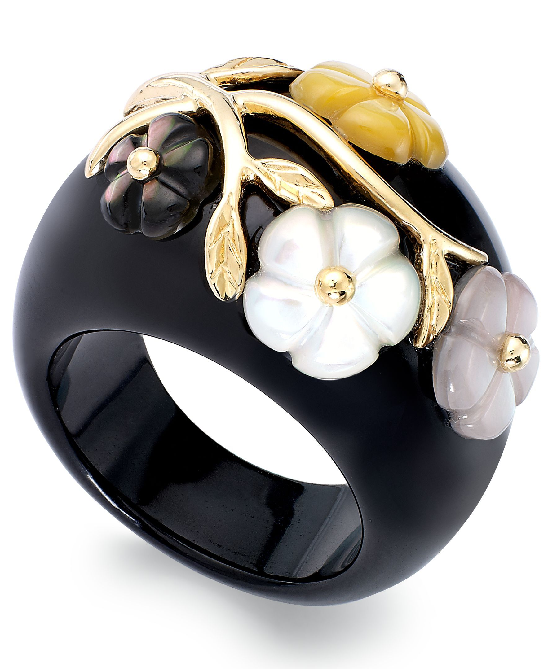 14k Gold over Sterling Silver Ring, Onyx (6mm) and Mother of Pearl (24mm) Flower Ring