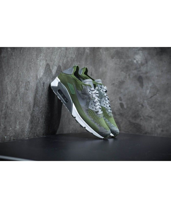 c3029cbe2781 Men s Nike Air Max 90 Ultra 2.0 Flyknit Rough Green White Black Dark Grey  875943-300