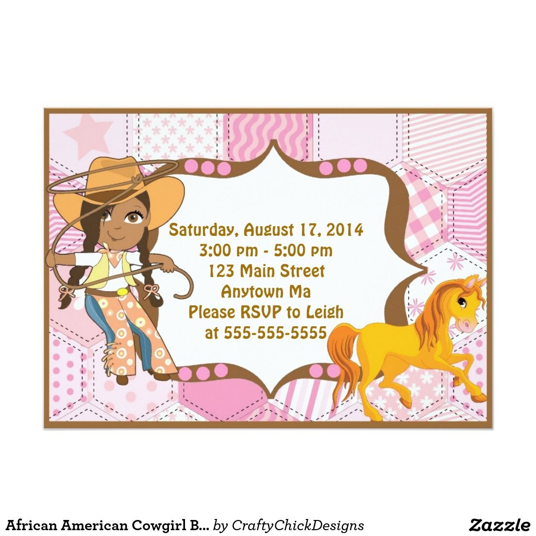 African American Cowgirl Birthday Invitation | Ani Birthday ...