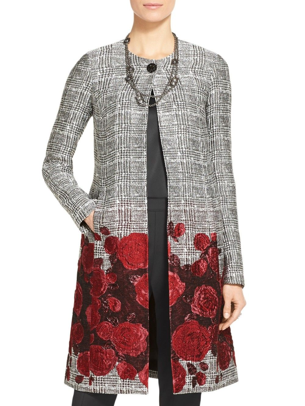 820e1cc6812d40 Plaid Rose Jacquard Topper | St. John Knits | Jacket Required ...