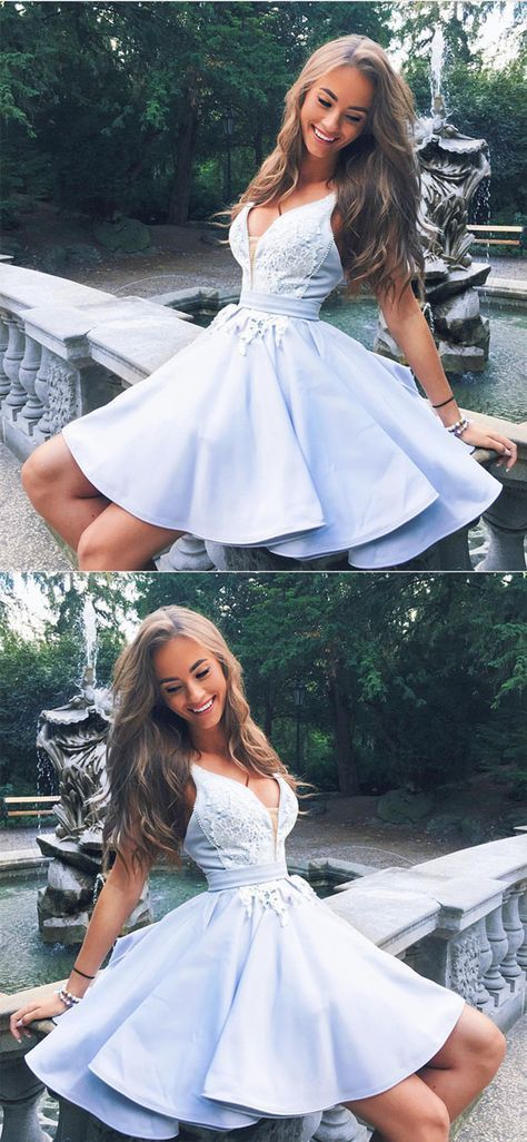 cute a-line v neck satin homecoming dresses lace appliques prom short dresses 2018 #homecomingdresses #spitzeapplique