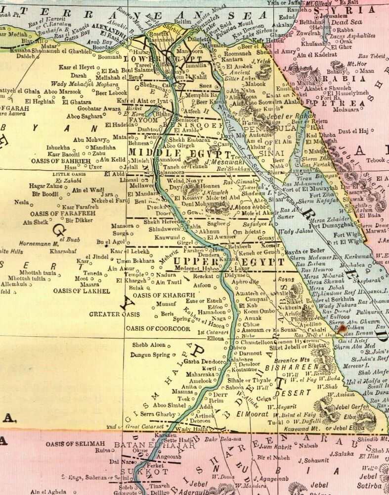 1893 Antique Map Of Egypt Abyssinia Map Ethiopia Map Original Vintage Map 3666 Egypt Map Ancient Maps Egypt