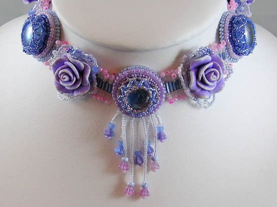 Beaded Lilac Flower Choker Necklace With Pinks And Blues Fairy Jewelry Fantasy Wedding Romantic Weddin Flower Choker Necklace Flower Choker Fairy Jewelry