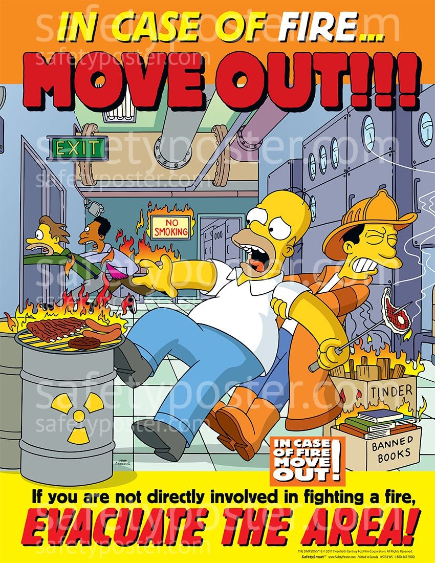 Workplace safety posters - Fire Safety Posters Simpsons S1114