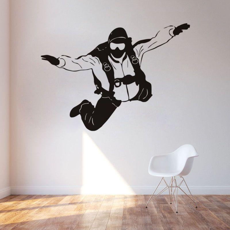 parachutist silhouette wall stickers black white vinyl wall art
