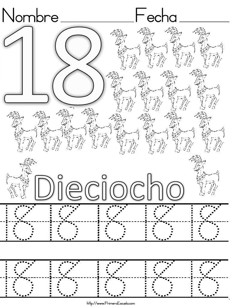 Fichas de grafomotricidad y lectoescritura con números del 1 al 20 ...