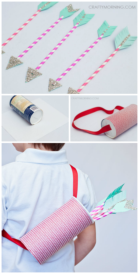 Paper straw cupid arrows - what a cute Valentine's day craft for kids to play with after!