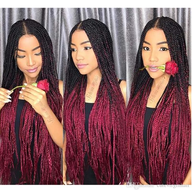 Ombre Xpression Braiding Hair Two Tone 1b 99j Black Roots Dark Red Modele Coiffure Coiffure Braids Coiffures Crepues