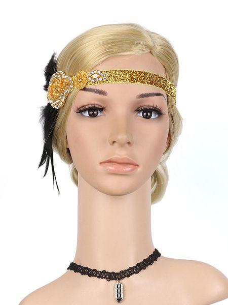 Années 1920 Great Gatsby Headband Flapper Headpieces Plume Femmes Rétro Accessoires de cheveux Halloween