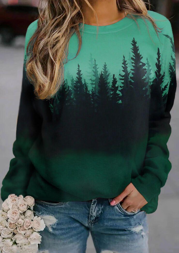 Gradient Treetop Raglan Sleeve Sweatshirt - Green