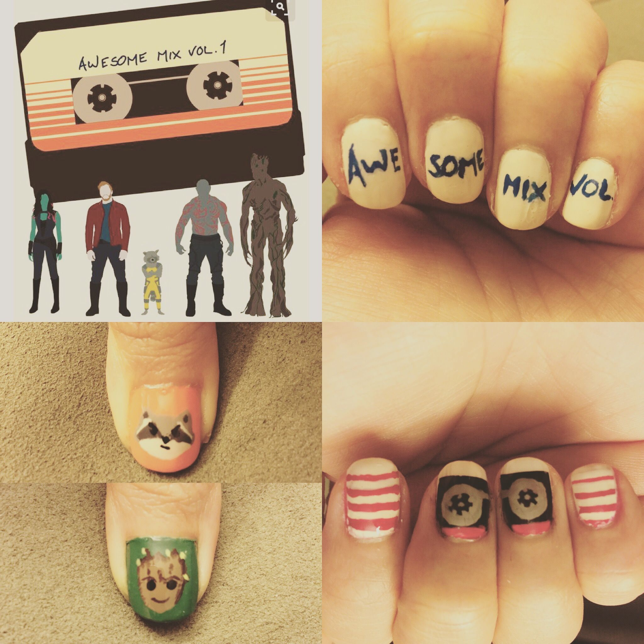 Awesome mix vol. 2. Guardians of the galaxy nail art, nerd nails ...