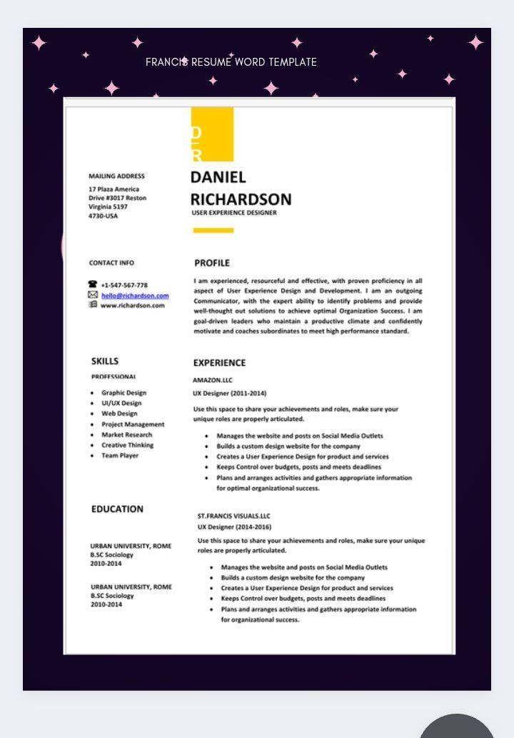 Cv template professional resume resume templatecv etsy