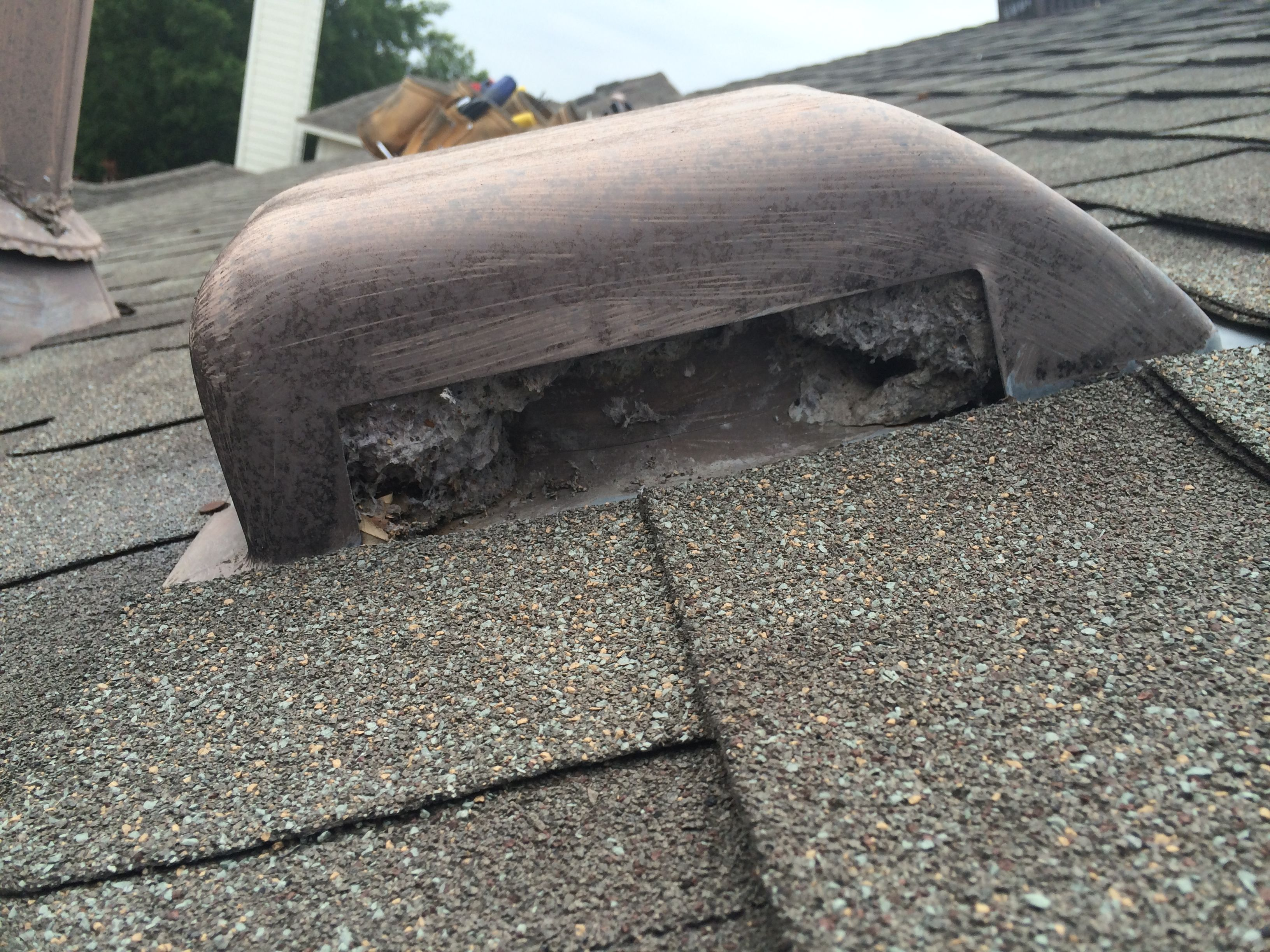 Another Angle Of This Roof Top Dryer Vent Which Was Almost Entirely Plugged  With Hardened Lint