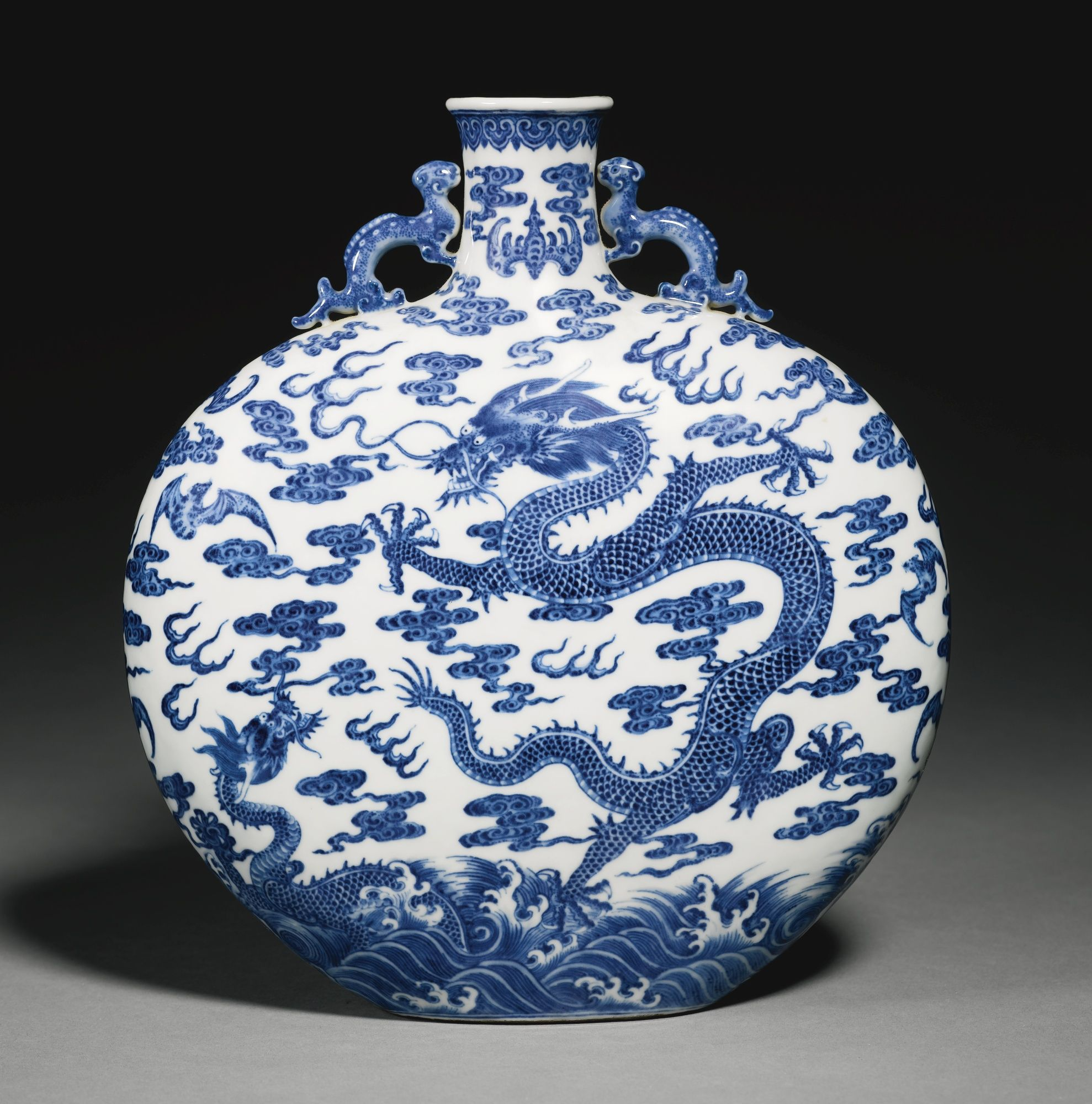 A Rare Blue And White Dragon Moonflask Qing Dynasty