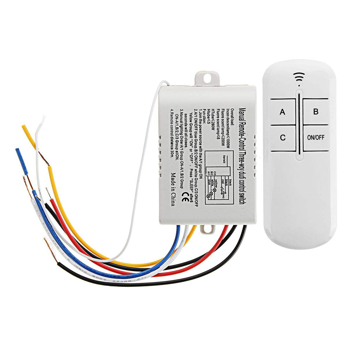 3 ways on off wireless remote control switch receiver transmitter for led lamp ac220v [ 1200 x 1200 Pixel ]