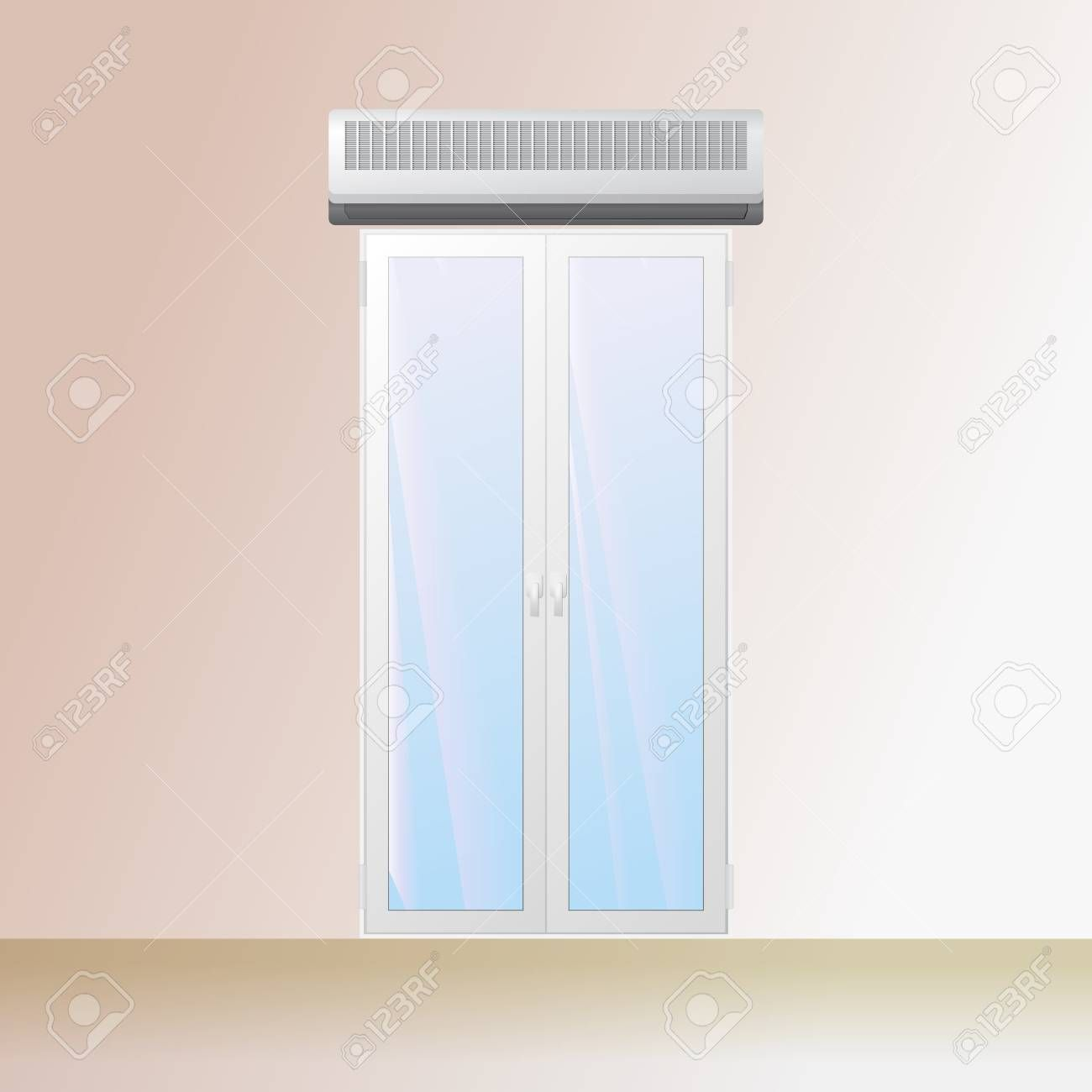 Air Curtain Over A Doorway In The Store Electric Blower Vector