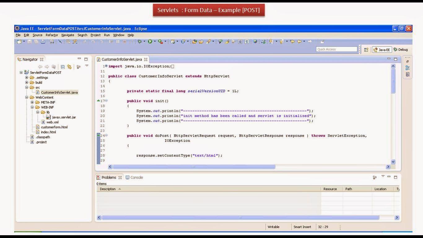 JAVA EE: Servlets : Form Data Example - POST Method | JAVA, Servlet