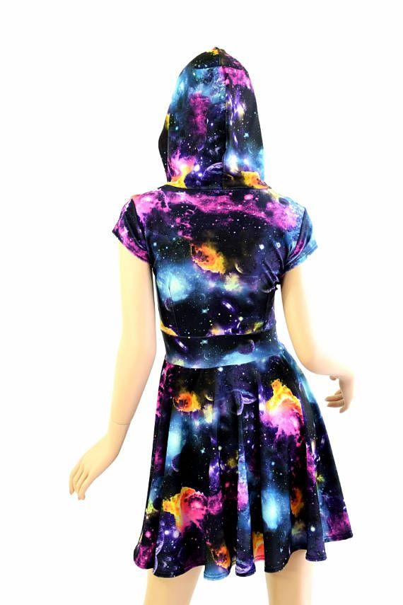 f767ff11915 UV Glow Galaxy Print Hoodie Cap Sleeve Fit and Flare Skater Skate ...