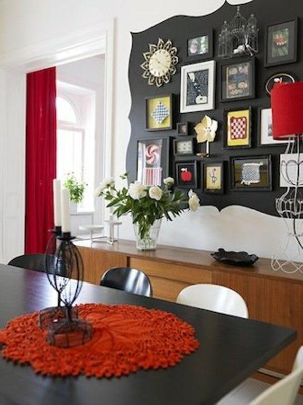 Esszimmer Design Mit Origineller Wandgestaltung - Bilder Galerie ... Esszimmer Wand Bilder