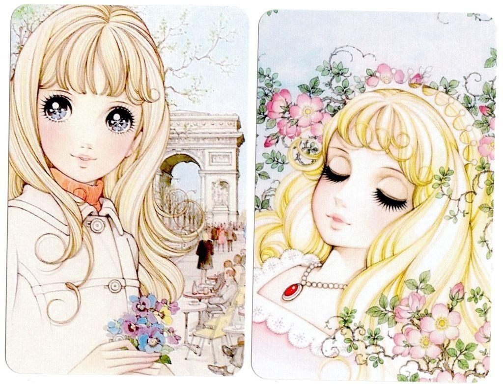 swap cards blank back girl big eye lady anime white boarder