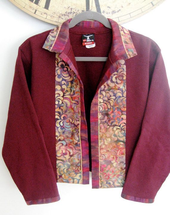 Batik Quilted Sweatshirt Jacket in Burgundy and by SallyManke ... : quilted sweatshirt jacket - Adamdwight.com