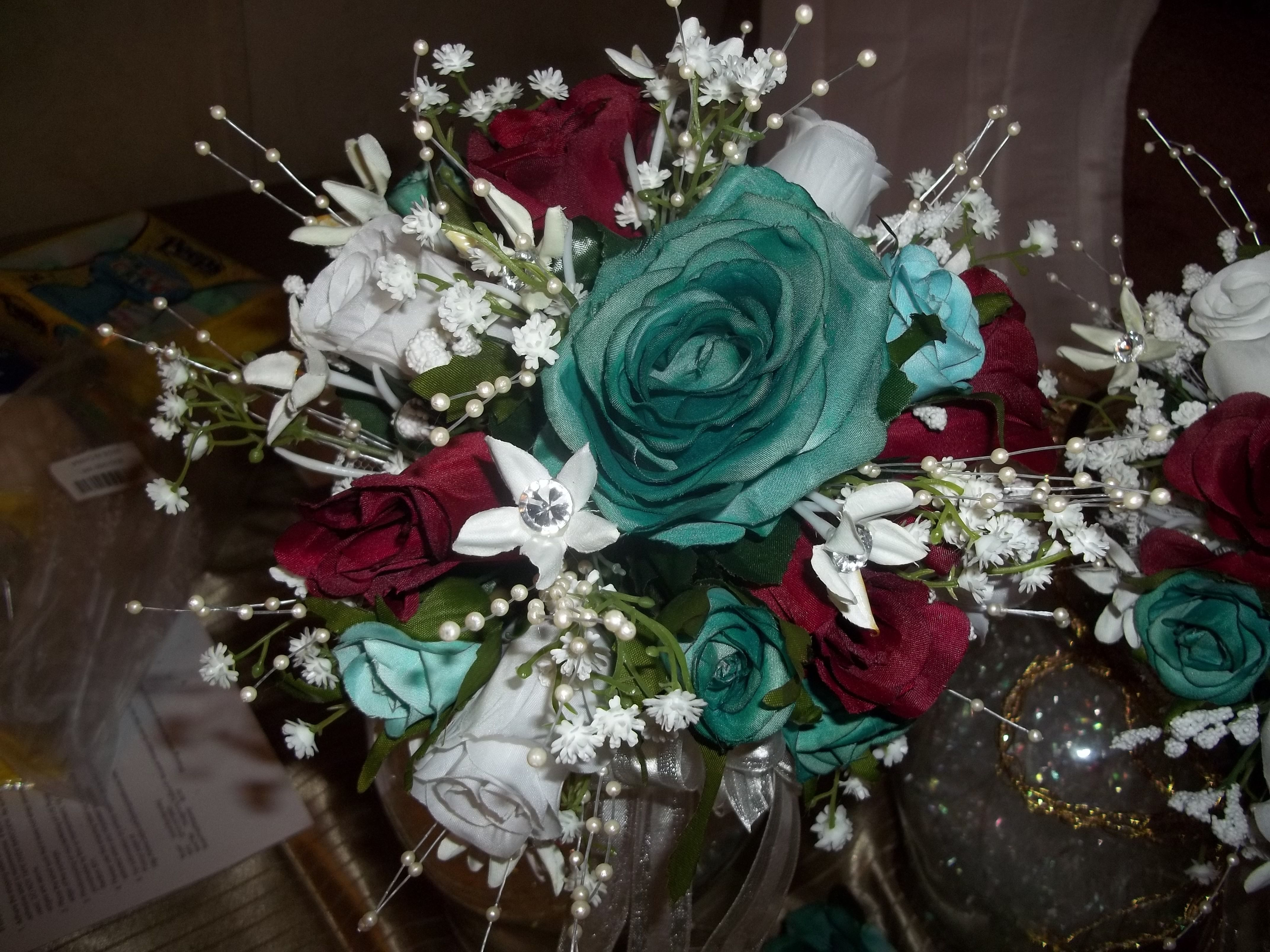 Burgundy And Turquoise Go Well Together Wedding Boquet Burgundy Wedding Colors Tiffany Blue Weddings