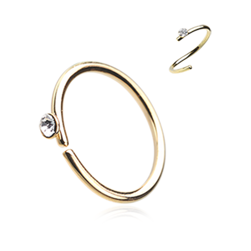 Gold Gem Top Bendable Steel Nose Ring Nose Hoop 20ga Body Jewelry Steel Nose Hoop Body Jewelry Nose Jewelry