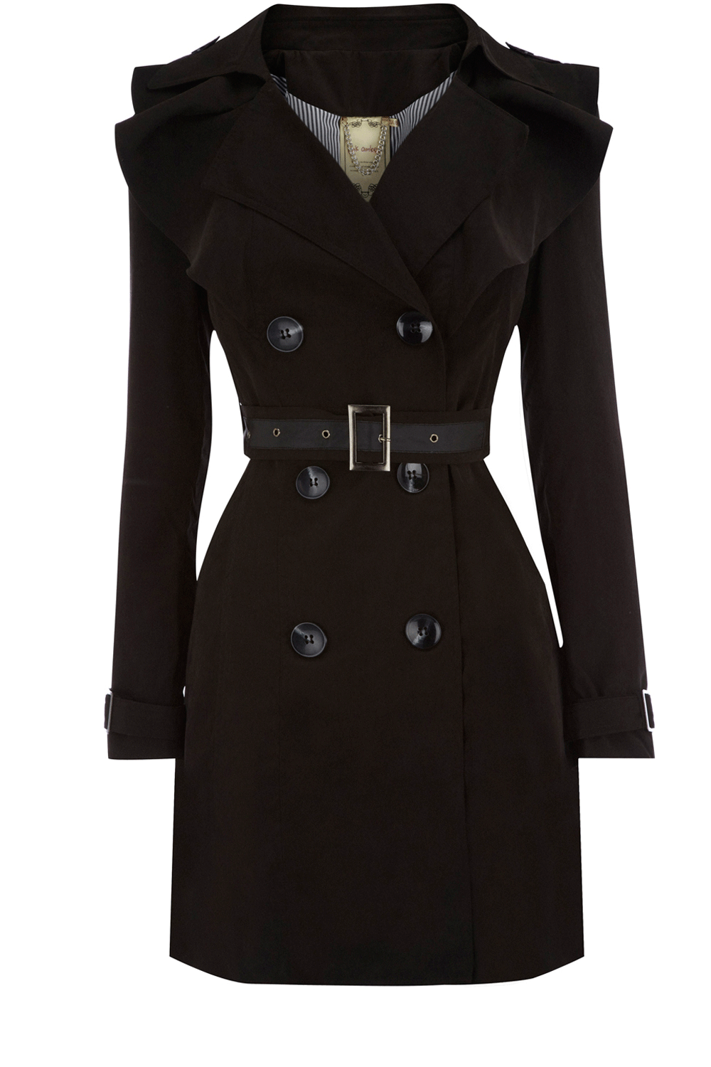 c003380574b3 Oasis Clothing | Black Frill Collar Trench Coat | Womens Fashion Clothing |  Oasis Stores UK