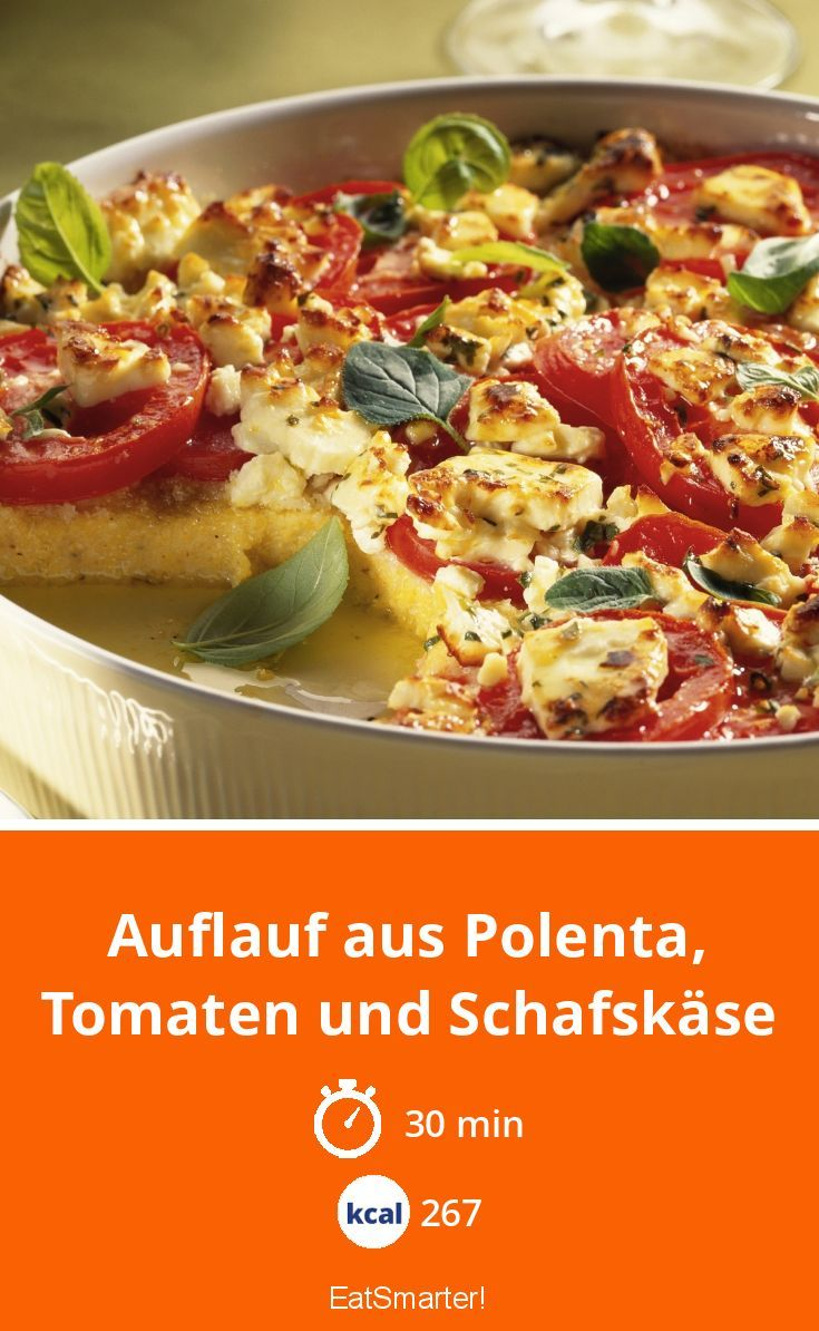 Photo of Casserole made of polenta, tomatoes and sheep's cheese