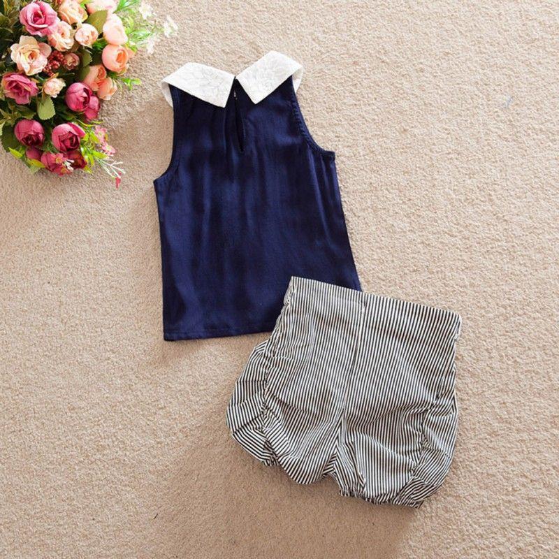 b71a4e0e7 2pcs Summer Girls Toddler Kids Baby Clothes Sets Beach Outfits ...