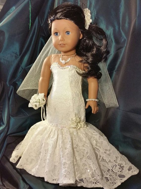 Ivory Lace Fit and Flair Bride Doll Dress for American Girl size dolls #bridedolls