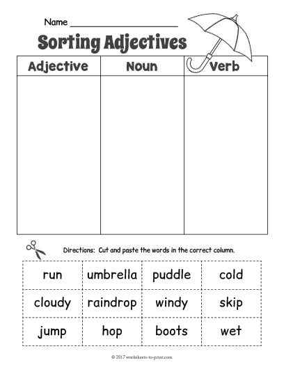 free printable rainy day adjective sorting worksheet adjective worksheets adjective. Black Bedroom Furniture Sets. Home Design Ideas