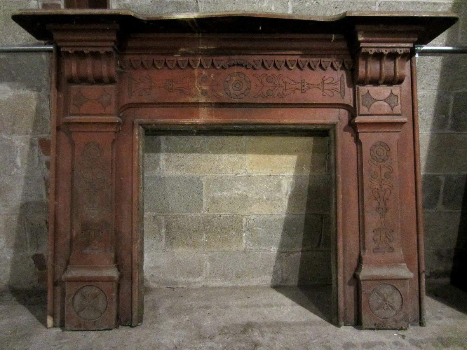 Very Nice Antique Carved Fireplace Mantel Architectural Salvage Ebay Antique Fireplace Mantels Fireplace Mantels Carved Fireplace