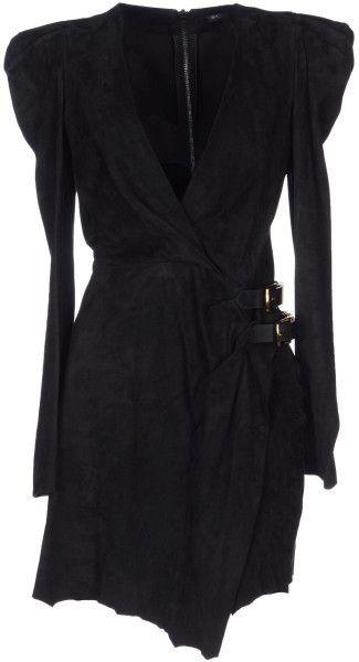 Black Short Dress V-neckline, long sleeves, no appliqués, strap detailing, no pockets, unlined, rear closure, zip closure, solid colour, raw-cut hem, wrap dress. 100% buck.