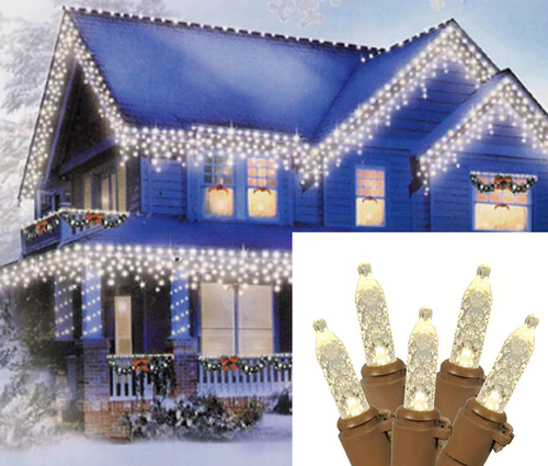Set Of 70 Warm White Led M5 Icicle Christmas Lights 10ft Brown Wire Icicle Christmas Lights Christmas Lights Icicle Lights