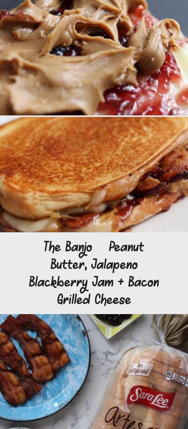 The Banjo Peanut Butter Jalapeno Blackberry Jam Bacon Grilled Cheese Sandwich Peanut Butter In 2020 Bacon Grilled Cheese Honey Roasted Peanuts Peanut Butter