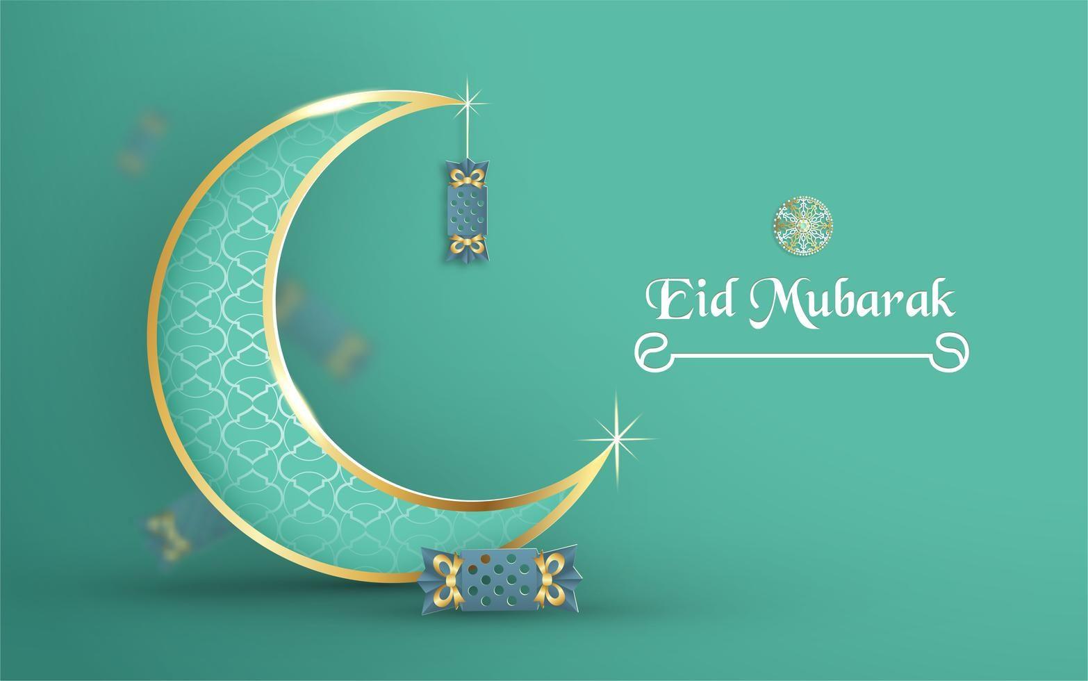 Ramadhan Template For Eid Mubarak With Green And Gold Color Tone Banner Kartu Lembar Kerja