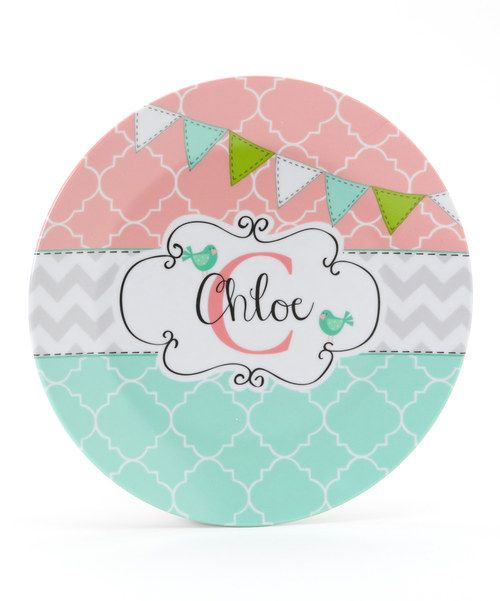 Take a look at the Aqua & Pink Flag Personalized Plate on #zulily today!