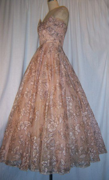 Image detail for -Designer Vintage 40\'s Pink Lace Gown Omar Kiam Ben ...